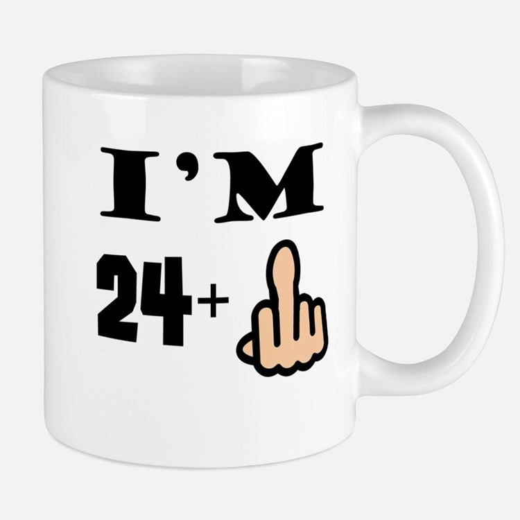 Middle Finger 25th Birthday Mugs