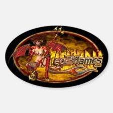 EQ2Flames Devil Babe Oval Decal