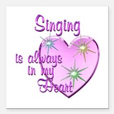 "Singing Heart Square Car Magnet 3"" x 3"""