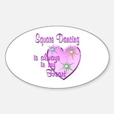 Square Dancing Heart Sticker (Oval)