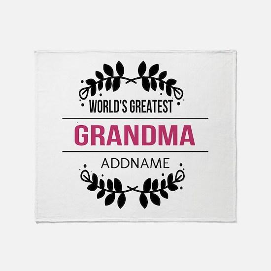 World's Greatest Grandma Custom Name Throw Blanket