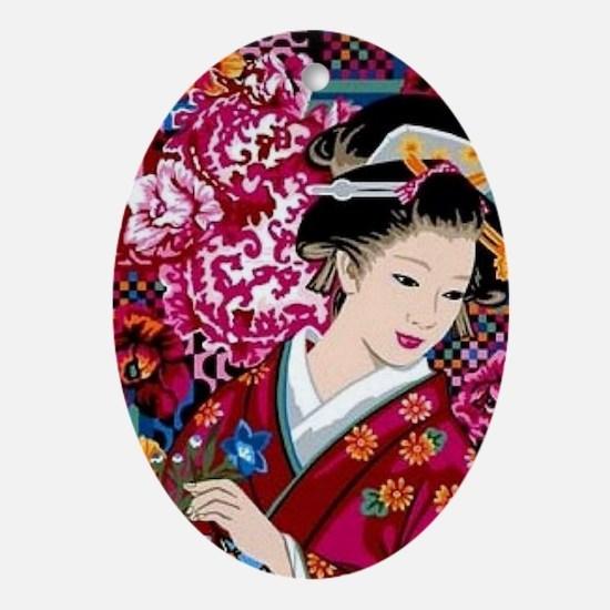 Unique Geisha Oval Ornament