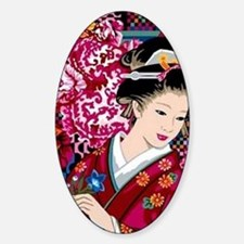 Funny Japanese geisha Sticker (Oval)