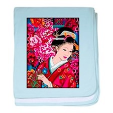 Japanese Geisha Woman Lady Art baby blanket