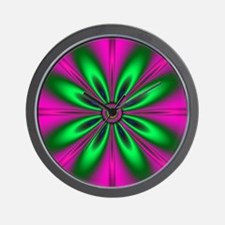 Green Flower on Pink by designeffects Wall Clock