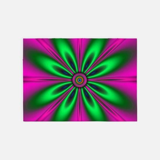 Green Flower on Pink by designeffec 5'x7'Area Rug