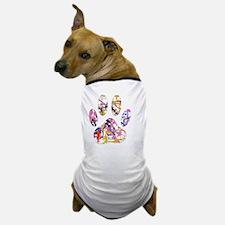 Paint Splatter Dog Paw Print Dog T-Shirt
