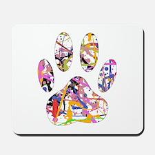 Paint Splatter Dog Paw Print Mousepad