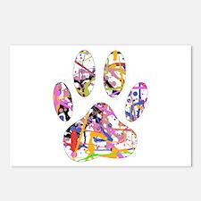 Paint Splatter Dog Paw Pr Postcards (Package of 8)