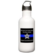 Real Heroes Wear Badge Water Bottle