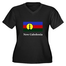 New Caledonia Women's Plus Size V-Neck Dark T-Shir