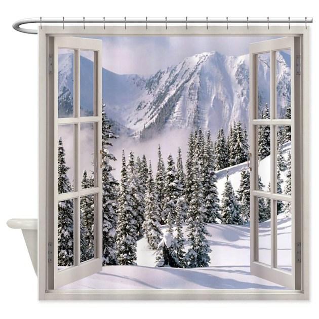 Winter Wonderland Window View Shower Curtain By Simpleshopping