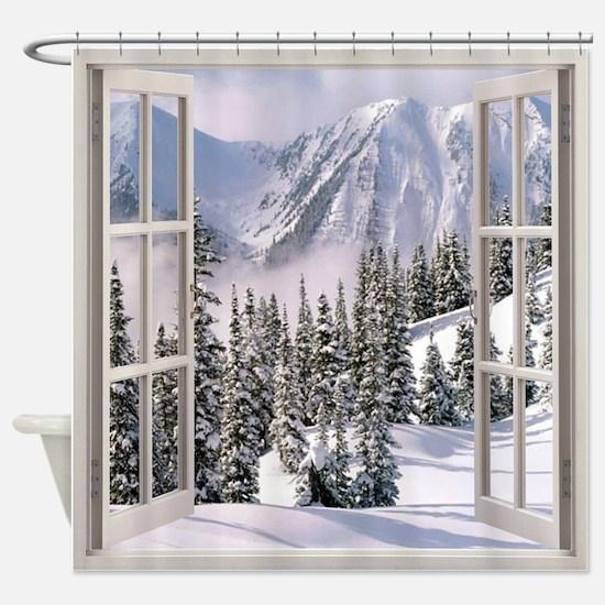 Winter Wonderland Window View Shower Curtain