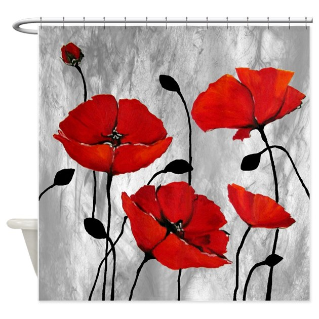 Red Poppies Shower Curtain by simpleshopping