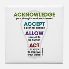 Acknowledge Accept Allow Act Tile Coaster