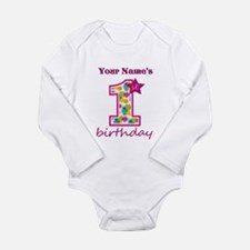 1st Birthday Splat - P Long Sleeve Infant Bodysuit