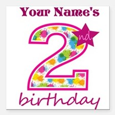 "2nd Birthday Splat - Per Square Car Magnet 3"" x 3"""
