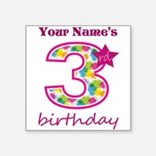 "3rd Birthday Splat - Person Square Sticker 3"" x 3"""