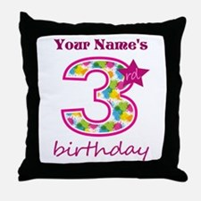 3rd Birthday Splat - Personalized Throw Pillow