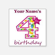 "4th Birthday Splat - Person Square Sticker 3"" x 3"""
