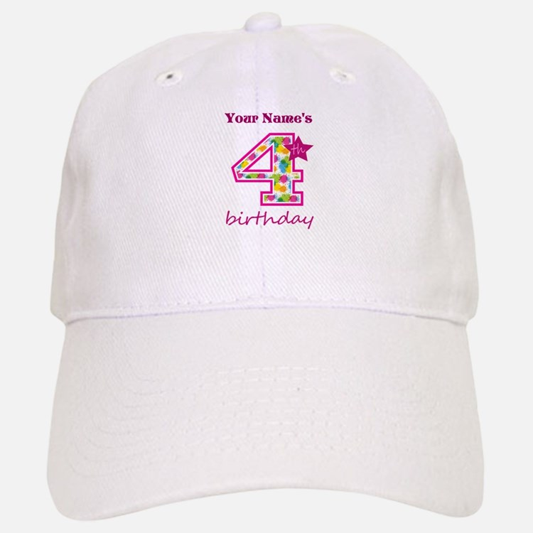 4th Birthday Splat - Personalized Baseball Baseball Cap