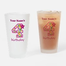 4th Birthday Splat - Personalized Drinking Glass