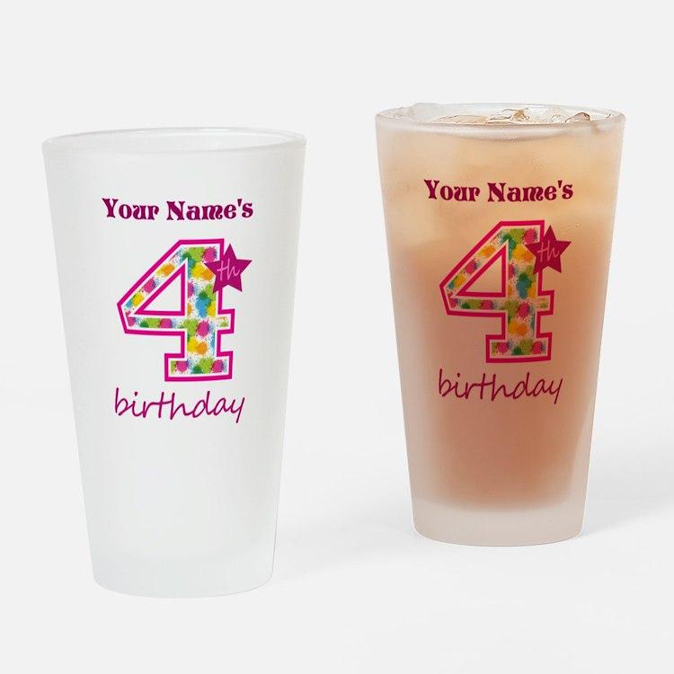 4th Birthday Splat - Personalized Drinking Glass