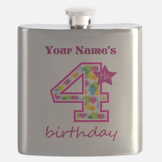 4th Birthday Splat - Personalized Flask