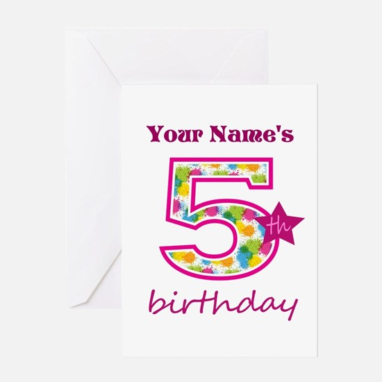 5th Birthday Splat - Personalized Greeting Card