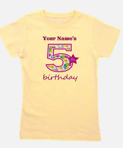 5th Birthday Splat - Personalized Girl's Tee