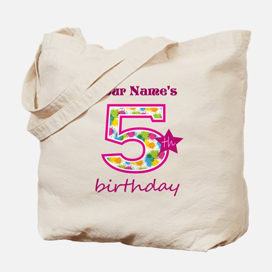 5th Birthday Splat - Personalized Tote Bag
