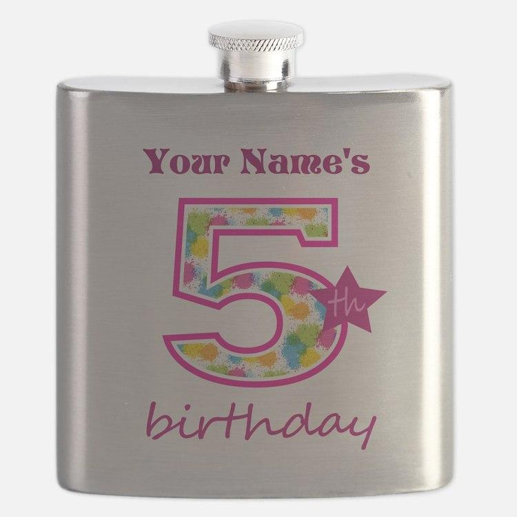5th Birthday Splat - Personalized Flask