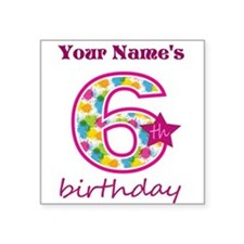 "6th Birthday Splat - Person Square Sticker 3"" x 3"""
