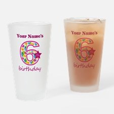 6th Birthday Splat - Personalized Drinking Glass