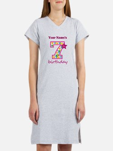 7th Birthday Splat - Personaliz Women's Nightshirt