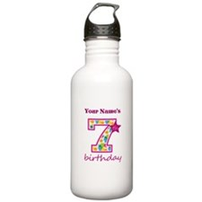 7th Birthday Splat - P Water Bottle