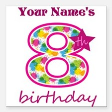 "8th Birthday Splat - Per Square Car Magnet 3"" x 3"""