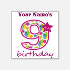 "9th Birthday Splat - Person Square Sticker 3"" x 3"""