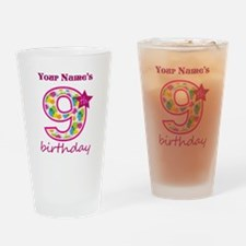 9th Birthday Splat - Personalized Drinking Glass