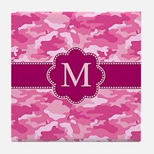 Pink Camo Monogram Tile Coaster
