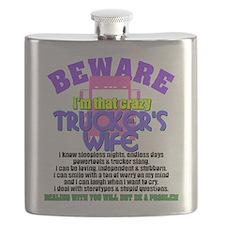 Beware Trucker's Wife Flask