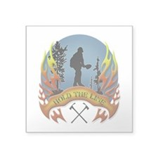"Wildland Firefighter (Hold Square Sticker 3"" x 3"""