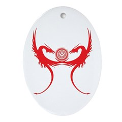 Masonic Red Dragons Oval Ornament