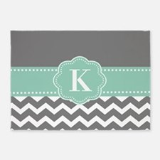 Gray Mint Chevron Monogram 5'x7'Area Rug