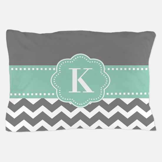 Gray Mint Chevron Monogram Pillow Case