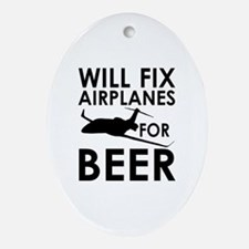 Airplanes Beer Oval Ornament