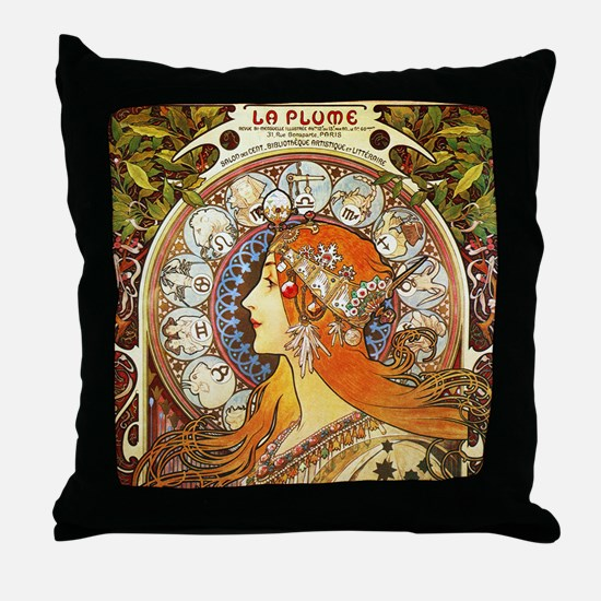Alphonse Mucha La Plume Zodiac Throw Pillow