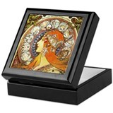 Alphonse mucha Square Keepsake Boxes