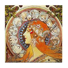 Alphonse Mucha La Plume Zodiac Tile Coaster