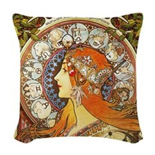 Alphonse Mucha La Plume Zodiac Woven Throw Pillow